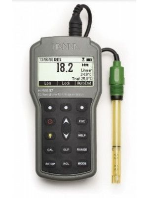 HI98197 Ultra Pure Water EC/Resistivity Waterproof Portable Meter